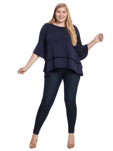 Trim Detail Bell Sleeve Navy Top