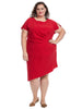 Short Sleeve Side Gathered Red Dress