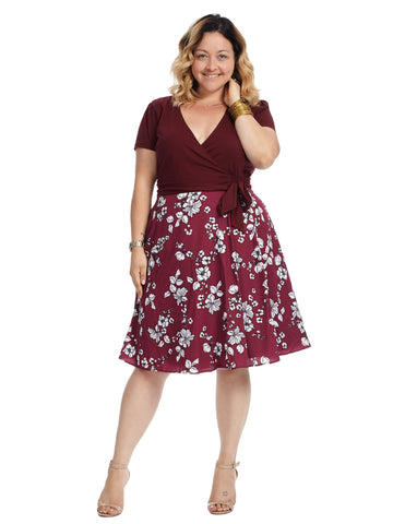 Twofer Burgundy Floral True Wrap Dress