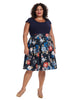 Navy Multi Twofer Fit And Flare Dress