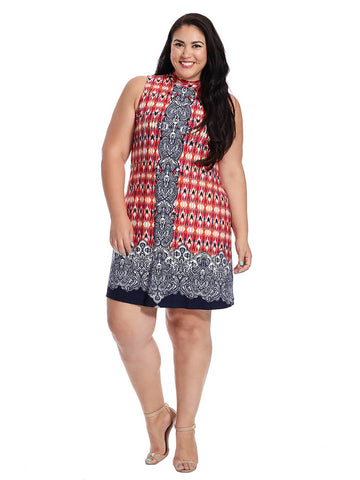 Double Border Trapeze Dress In Navy Multi Print