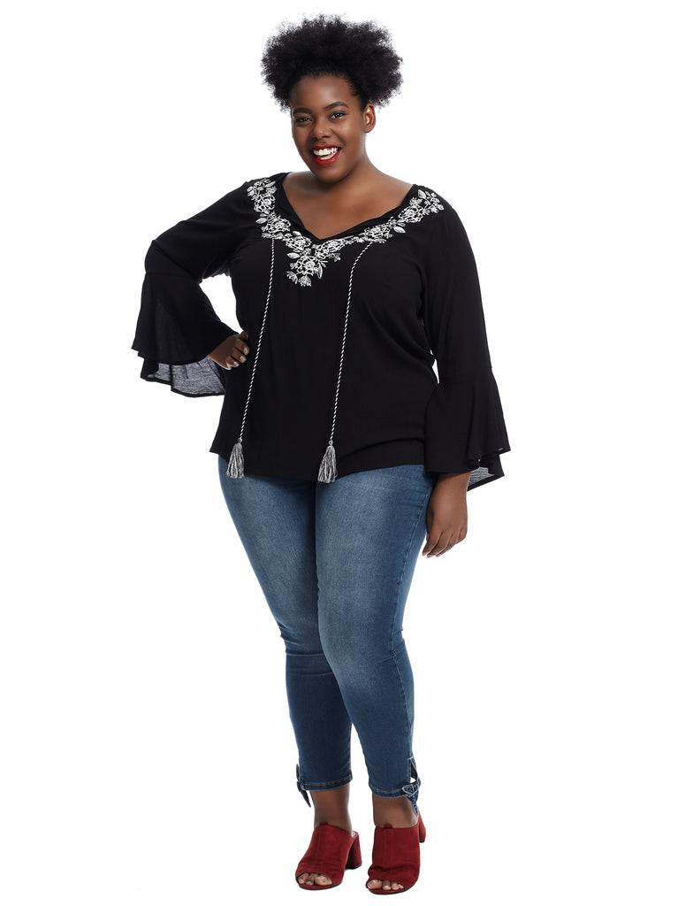 Bell Sleeve Embroidered Black Top