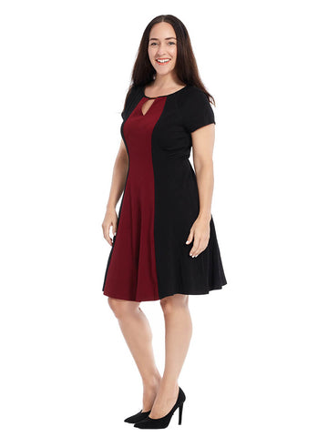 Colorblock Dress In Red And Black