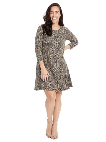 Paisley Print Jacquard Shift Dress