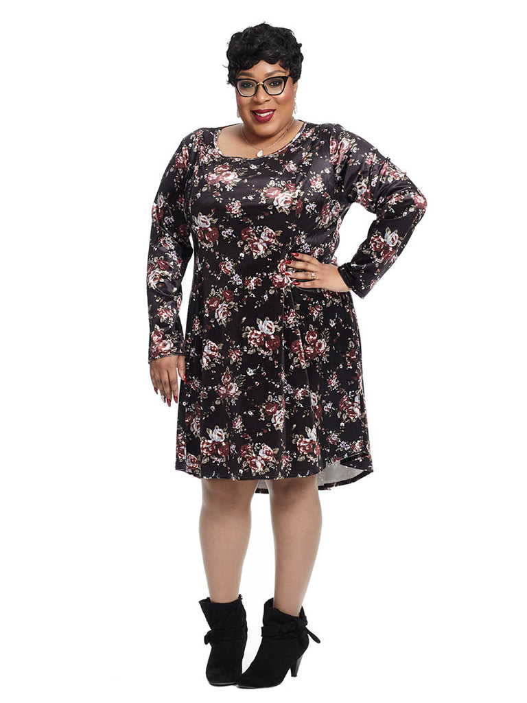 Long Sleeve Floral Print Dress In Black