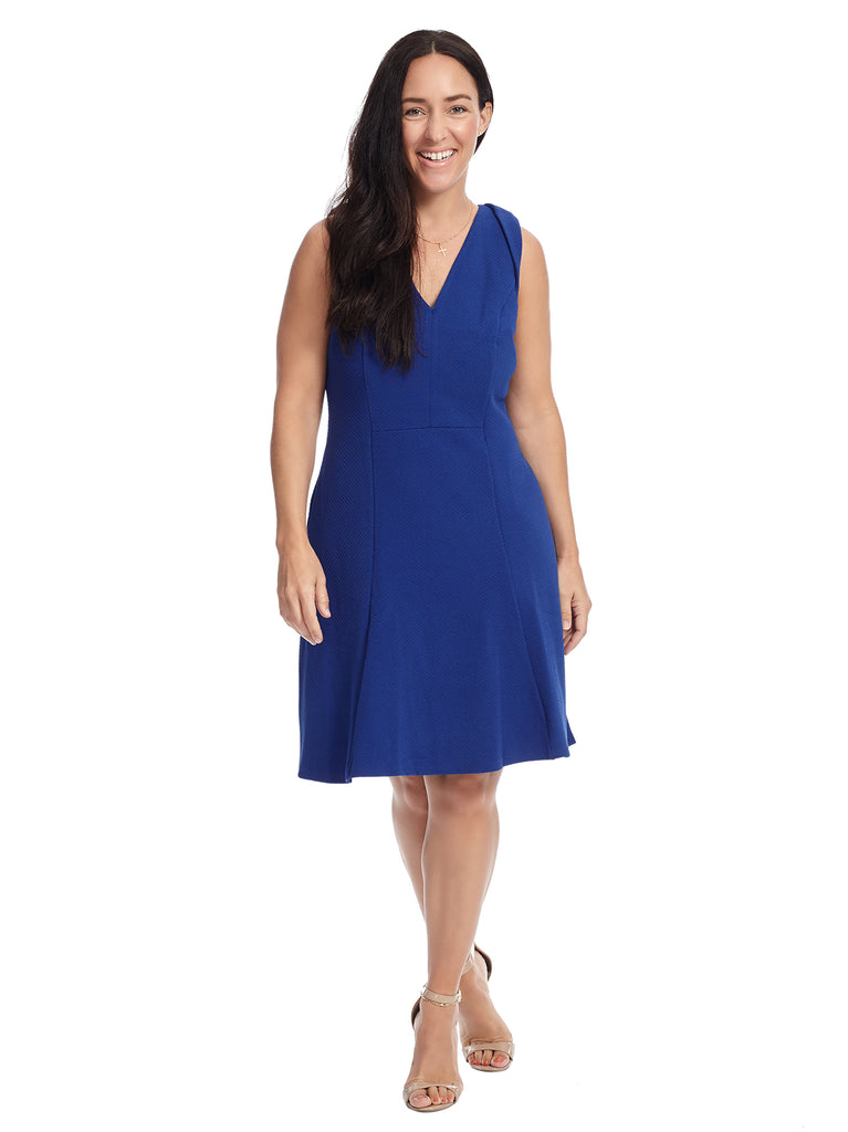 V-Neck Blue Diamond Knit Fit And Flare Dress