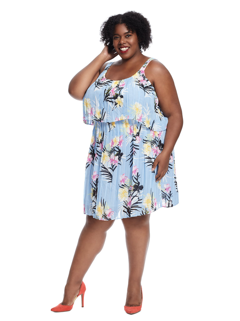 Popover Pleated Blue Floral Shift Dress