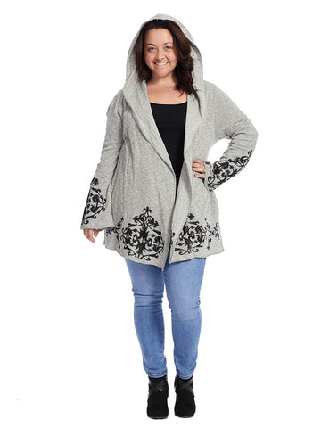 Embroidered Open Front Cardigan