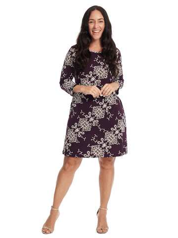 Eggplant And Ivory Floral Dress