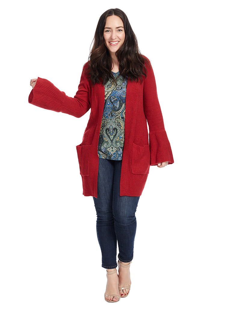 Long Sleeve Open Face Cardigan With Pockets In Red