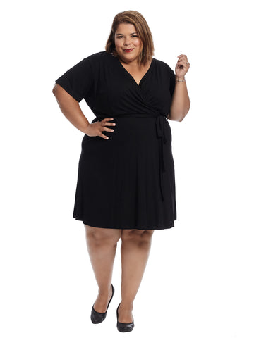 Short Sleeve Black Faux Wrap Dress