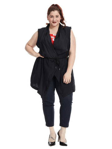 Draped Front Tencel Vest In Black