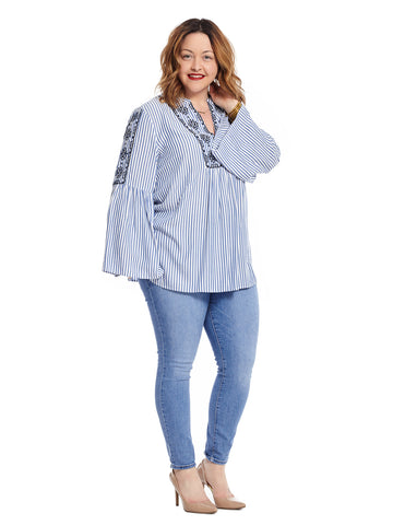 Bell Sleeve Indigo Stripe Blouse