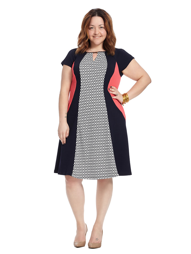 Key Hole Navy And Pink Printed Dress