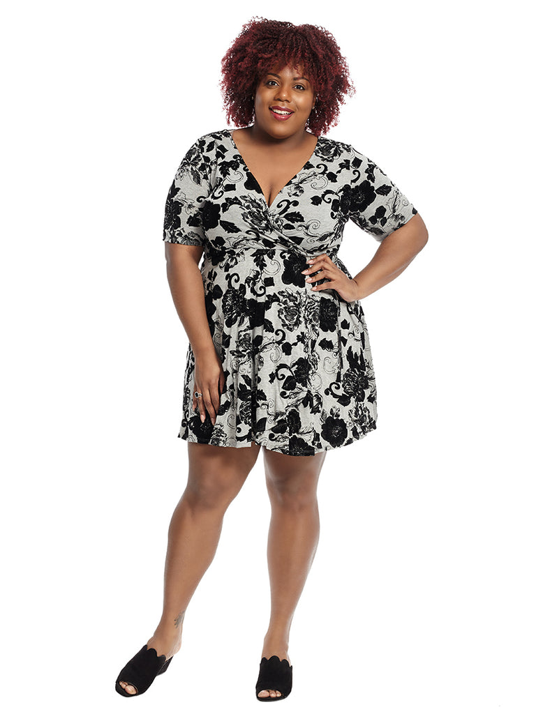 Black And Grey Floral Faux Wrap Dress