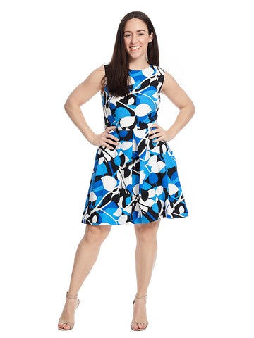 Blue And White Floral Fit And Flare Dress With Pockets