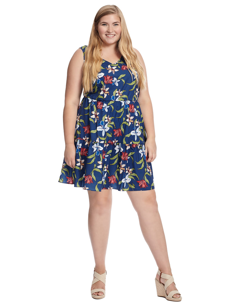 V-Neck Belize Print Fit And Flare Dress