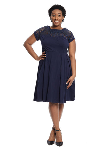 Illusion Eyelet Navy Dress