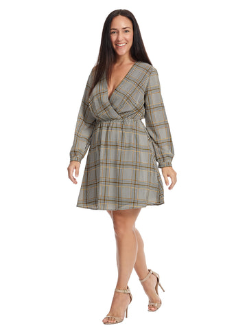 Surplice Plaid Dress
