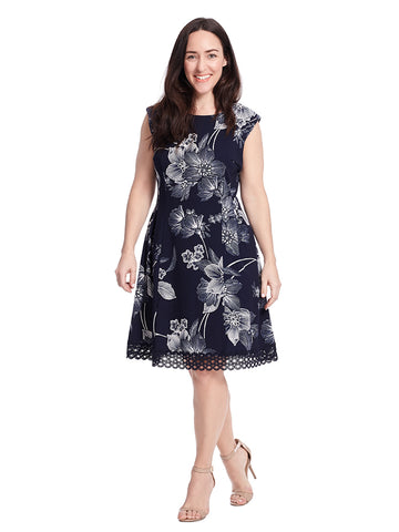 Dress With Cut Out Hem Detail In Navy Floral Print