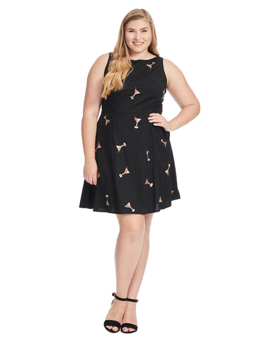 Sleeveless Black Cocktail Embroidered Fit And Flare Dress