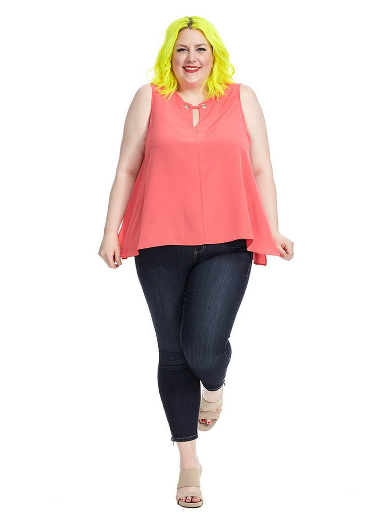 Uneven Hem Top in Flamingo