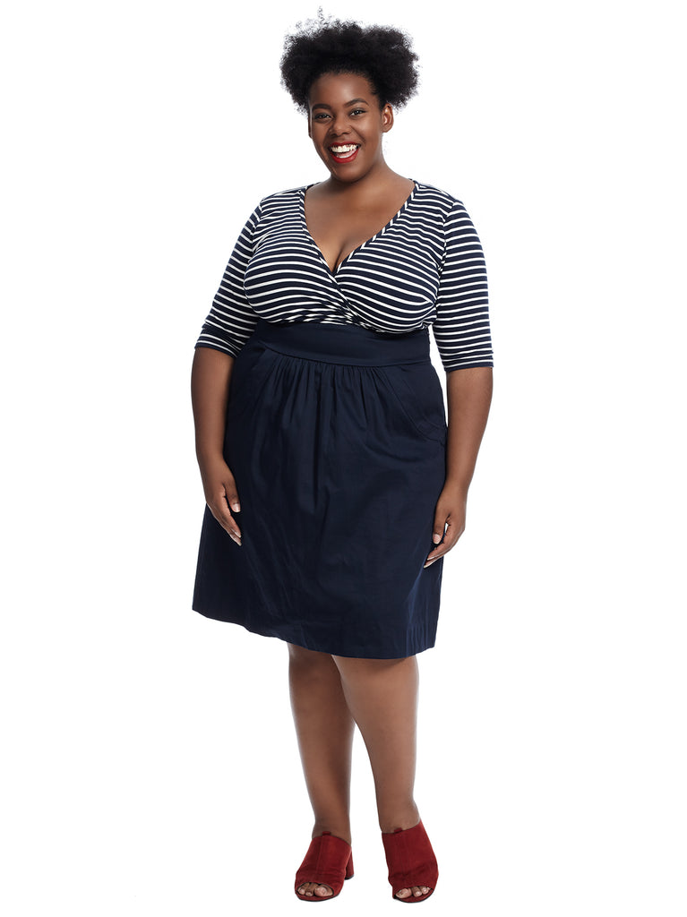 Ahoy Striped Dress With Poplin Skirt