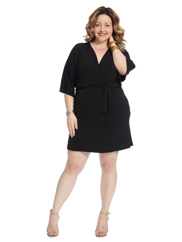 Tie Waist Black Wrap Dress