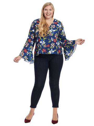 Bell Sleeve Belize Print Top