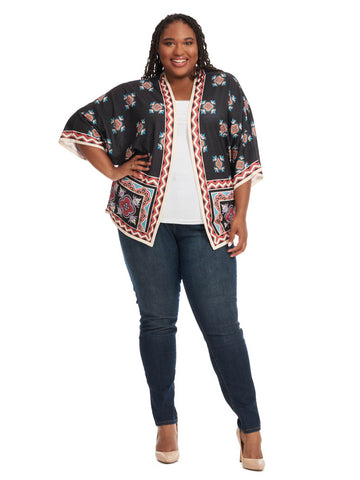 Kimono In Black Multi Placed Print