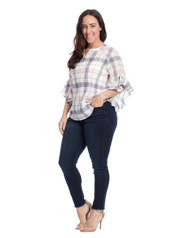 Flutter Sleeve Pavilion Plaid Henley Top