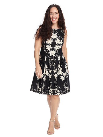 Fit And Flare Floral Dress In Black