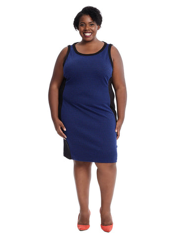 Sheath Dress In Cobalt And Black Houndstooth