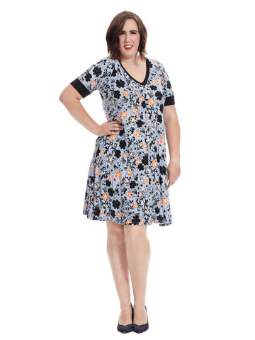 Forever Blue Floral T-Shirt Dress