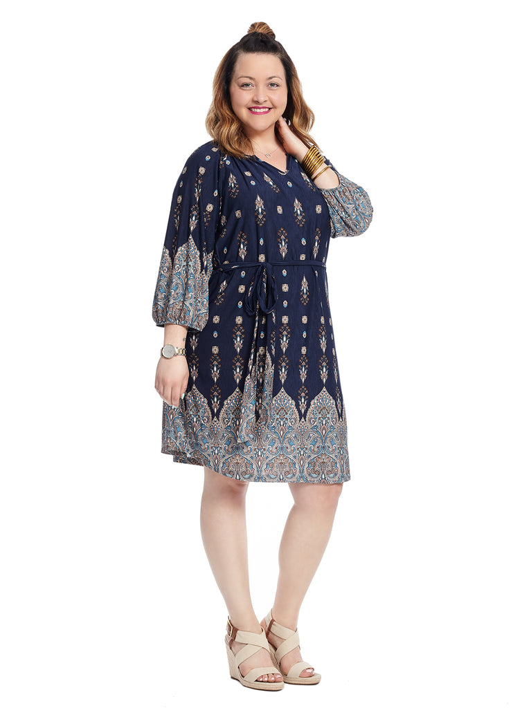 Notched Neck Belted Dress In Blue Border Print
