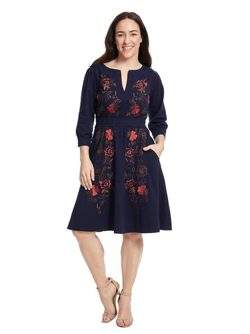 Floral Embellished Navy Dress