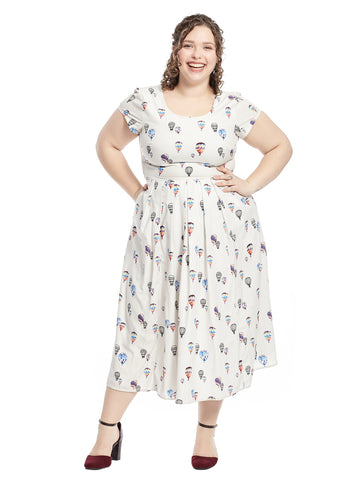 Fit And Flare Dress In Hot Air Balloon Print