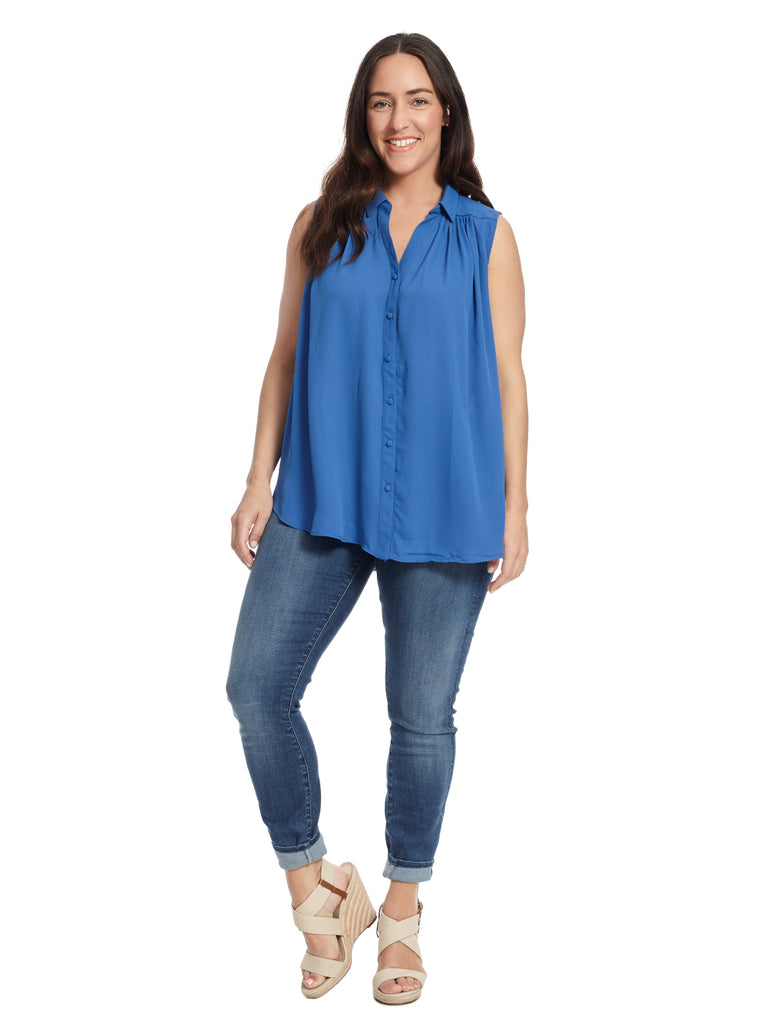 Sleeveless Flyaway Blouse