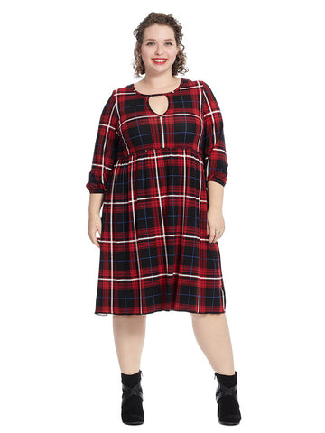 Babydoll Mini Dress In Plaid