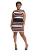 Cap Sleeve Striped Shift Dress
