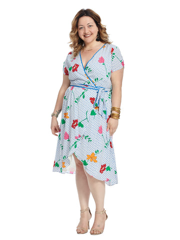 Blue Floral True Wrap Dress With Tulip Hem