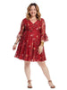 Bell Sleeve Red Floral Lace Fit And Flare Dress