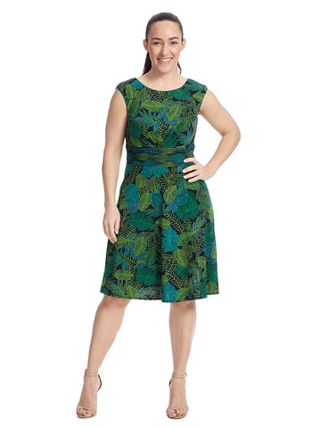 Leaf Print Fit And Flare Matte Jersey Dress