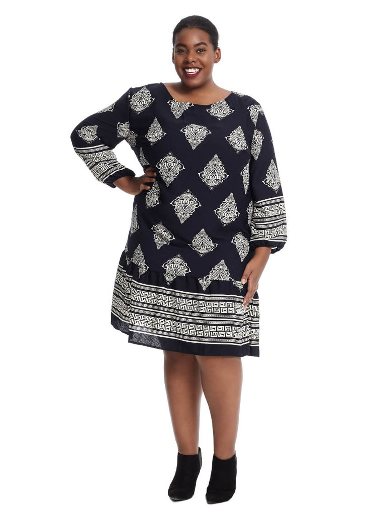 Printed Long Sleeve Shift Dress In Navy