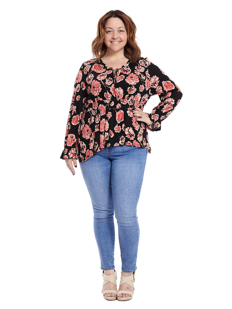 Carnation Printed Peasant Top