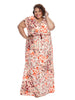 Tie Neck Geranium Maxi Dress