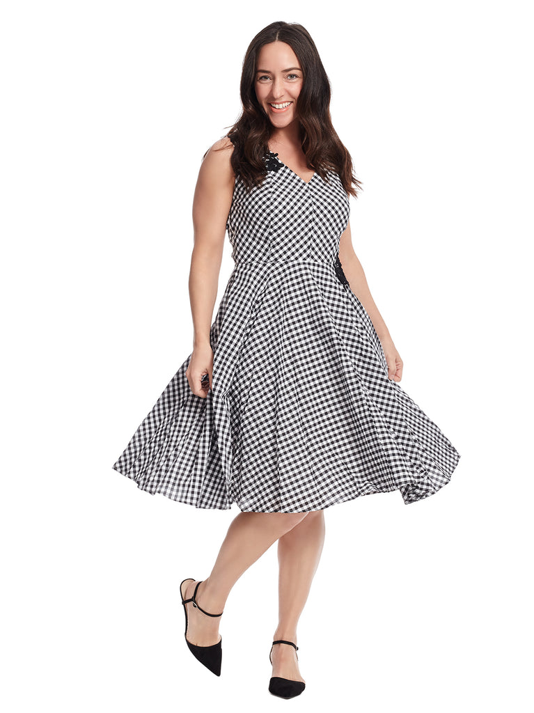 Lace Applique Gingham Fit And Flare Dress