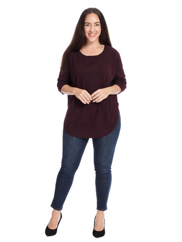 Round Hem Tunic Sweater In Burgundy