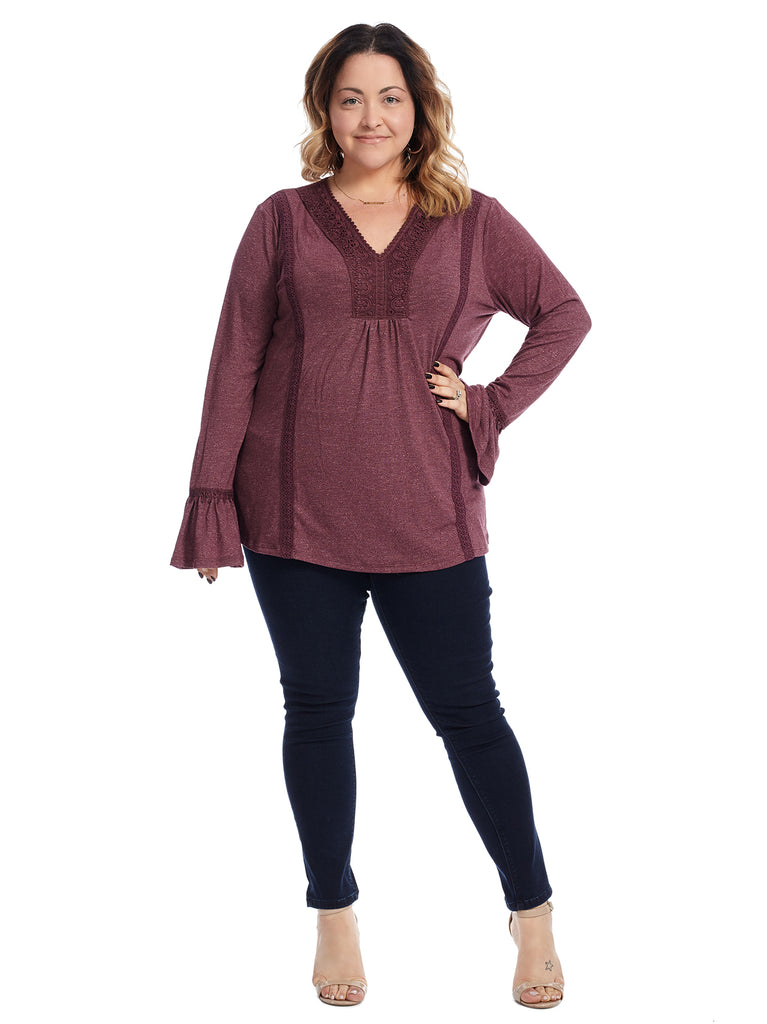 Bell Sleeve Berry Top