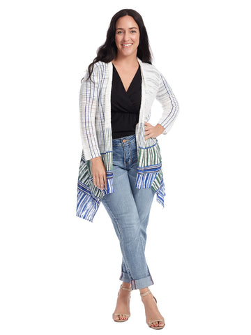 Blue And Green Stripe Border Cardigan
